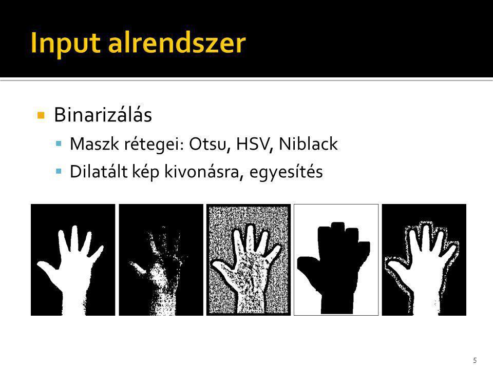  Binarizálás  Maszk rétegei: Otsu, HSV, Niblack  Dilatált kép kivonásra, egyesítés 5