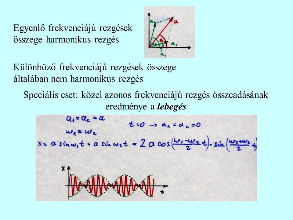 Egyenlő frekvenciájú rezgések összege harmonikus rezgés Különböző frekvenciájú rezgések összege általában nem harmonikus rezgés Speciális eset: közel