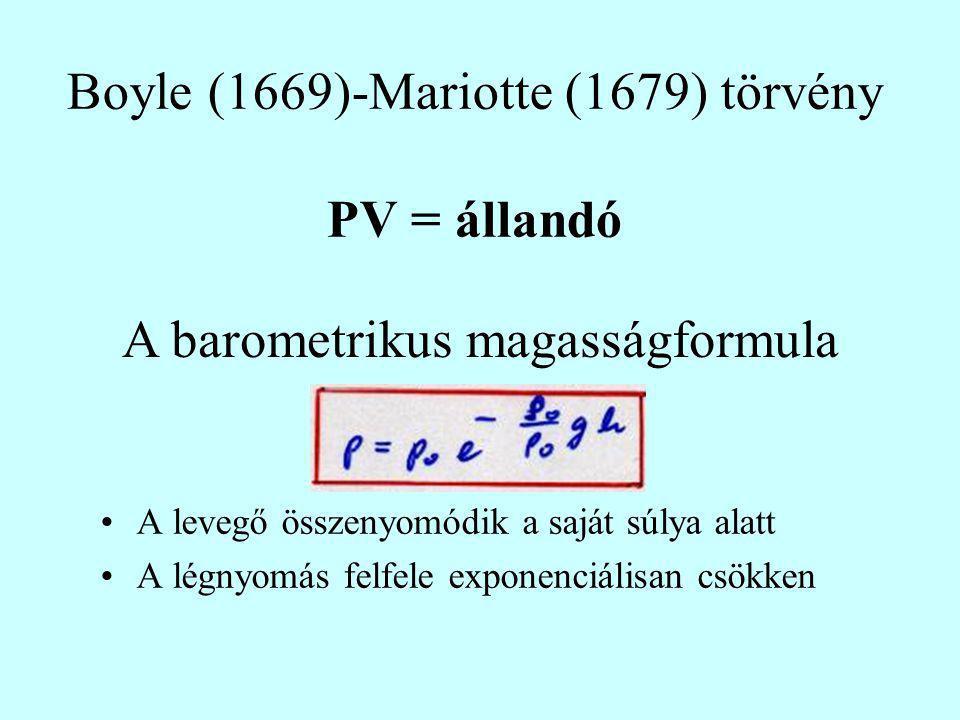 Boyle (1669)-Mariotte (1679) törvény PV = állandó A levegő összenyomódik a saját súlya alatt A légnyomás felfele exponenciálisan csökken A barometriku