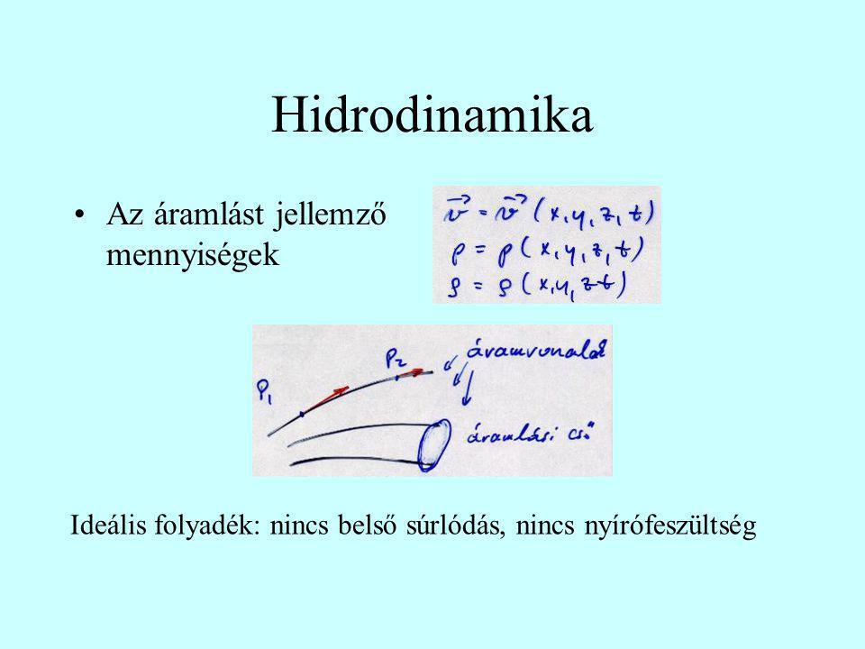 Hidrodinamika Az áramlást jellemző mennyiségek Ideális folyadék: nincs belső súrlódás, nincs nyírófeszültség