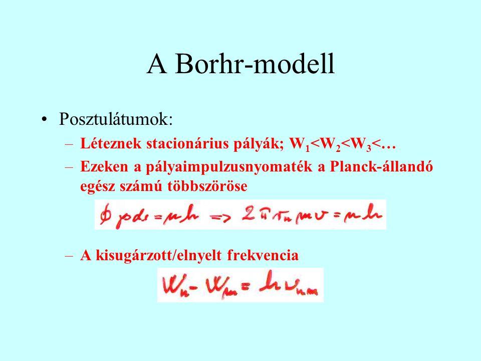 A Borhr-modell Posztulátumok: –Léteznek stacionárius pályák; W 1 <W 2 <W 3 <… –Ezeken a pályaimpulzusnyomaték a Planck-állandó egész számú többszöröse