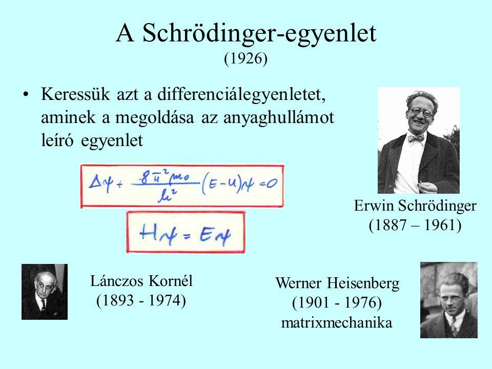 A Schrödinger-egyenlet (1926) Keressük azt a differenciálegyenletet, aminek a megoldása az anyaghullámot leíró egyenlet Erwin Schrödinger (1887 – 1961
