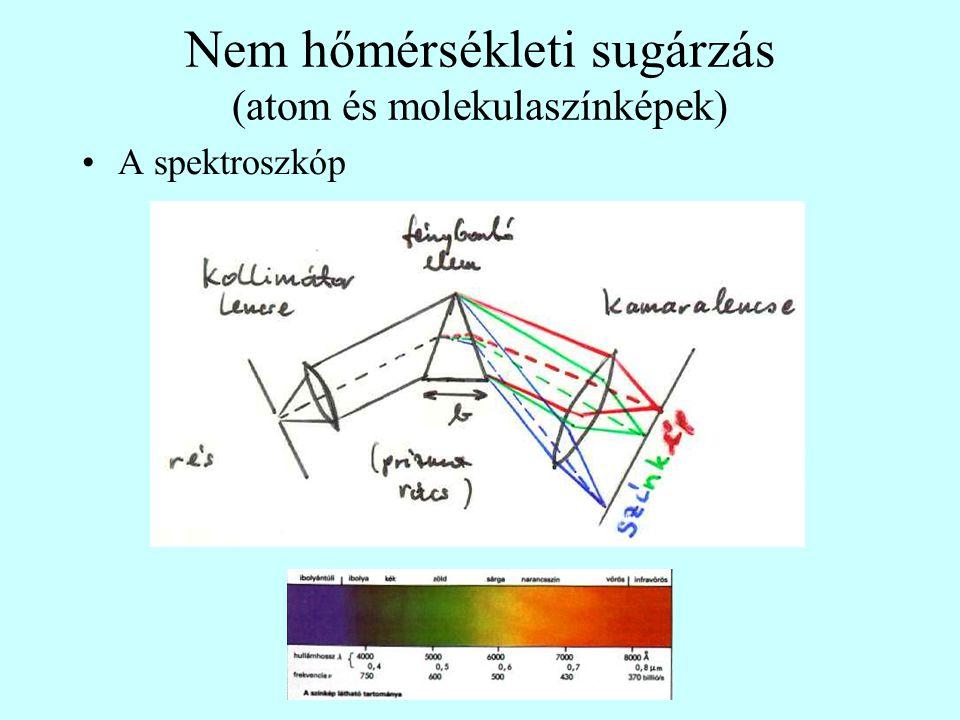 Nem hőmérsékleti sugárzás (atom és molekulaszínképek) A spektroszkóp