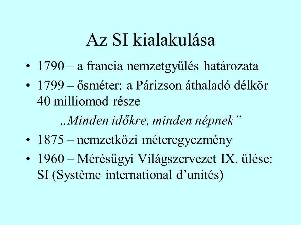 Az SI felépítése (MSz 4900/1…12) Alapegységek- 7 db Kiegészítő egységek- 2 db Leszármaztatott mennyiségek Megtűrt egységek [hold, négyszögöl, Å, fényév, pc, …] A nem (hivatalos) SI egységeket is ismerni kell