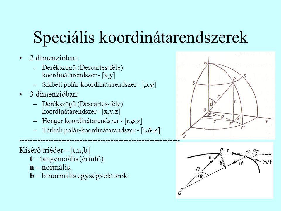 Speciális koordinátarendszerek 2 dimenzióban: –Derékszögű (Descartes-féle) koordinátarendszer - [x,y] –Síkbeli polár-koordináta rendszer - [ ,  ] 3 dimenzióban: –Derékszögű (Descartes-féle) koordinátarendszer - [x,y,z] –Henger koordinátarendszer - [r, ,z] –Térbeli polár-koordinátarendszer - [r  -------------------------------------------------------------- Kísérő triéder – [t,n,b] t – tangenciális (érintő), n – normális, b – binormális egységvektorok