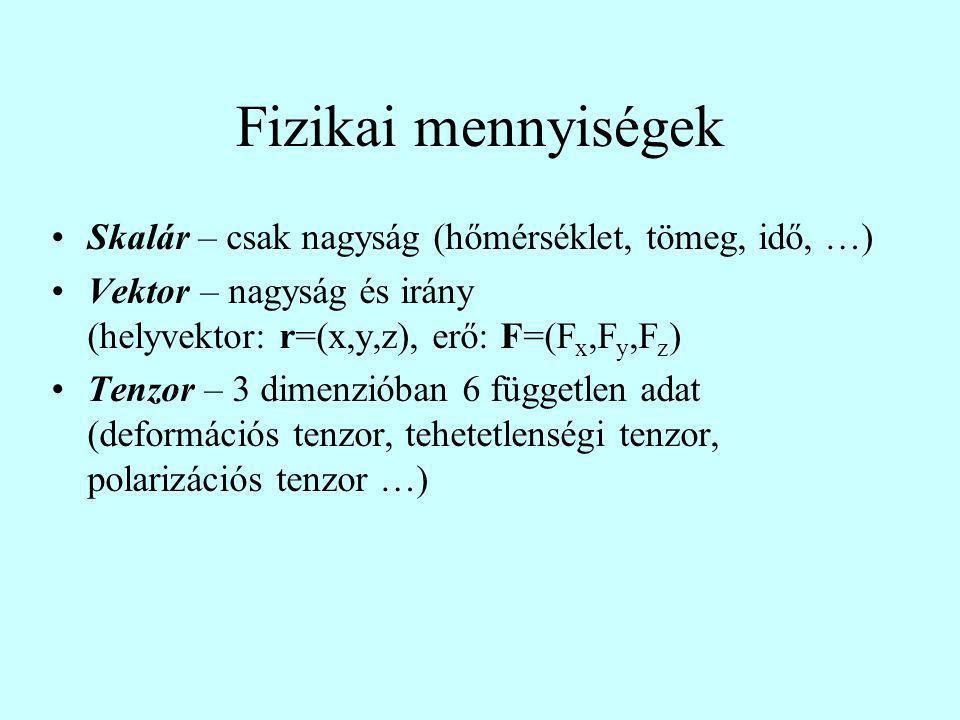 Fizikai mennyiségek Skalár – csak nagyság (hőmérséklet, tömeg, idő, …) Vektor – nagyság és irány (helyvektor: r=(x,y,z), erő: F=(F x,F y,F z ) Tenzor