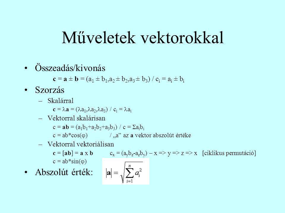 Műveletek vektorokkal Összeadás/kivonás c = a ± b = (a 1 ± b 1,a 2 ± b 2,a 3 ± b 3 ) / c i = a i ± b i Szorzás –Skalárral c = a = ( a 1, a 2, a 3 ) /