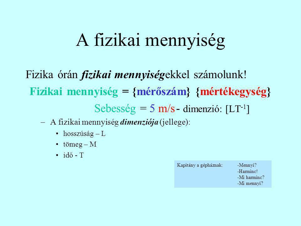 A fizikai mennyiség Fizika órán fizikai mennyiségekkel számolunk! Fizikai mennyiség = {mérőszám} {mértékegység} Sebesség = 5 m/s- dimenzió: [LT -1 ] –