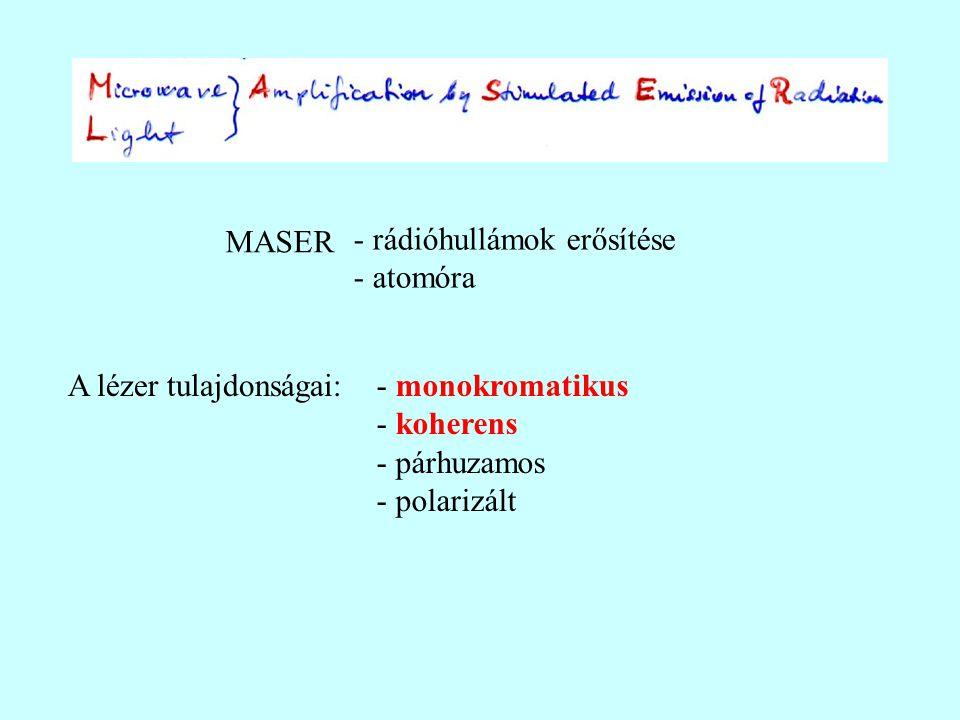 A lézer tulajdonságai: MASER - rádióhullámok erősítése - atomóra - monokromatikus - koherens - párhuzamos - polarizált