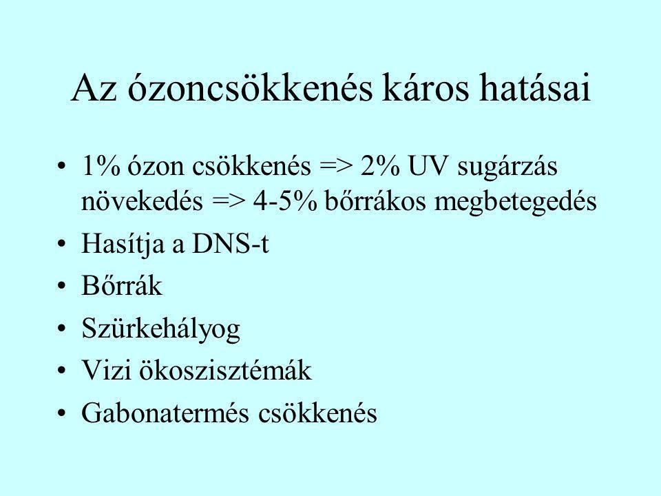 Az ózoncsökkenés káros hatásai 1% ózon csökkenés => 2% UV sugárzás növekedés => 4-5% bőrrákos megbetegedés Hasítja a DNS-t Bőrrák Szürkehályog Vizi ökoszisztémák Gabonatermés csökkenés
