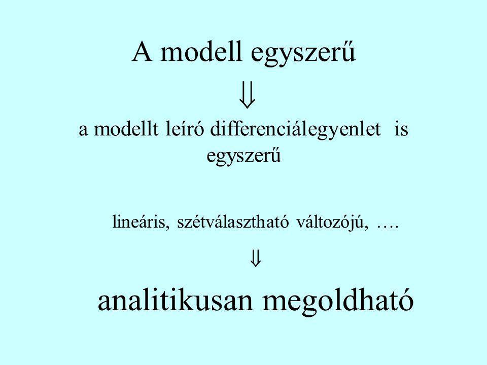 A modell egyszerű  a modellt leíró differenciálegyenlet is egyszerű lineáris, szétválasztható változójú, ….  analitikusan megoldható