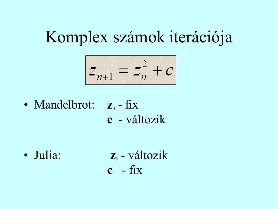 Komplex számok iterációja Mandelbrot:z 0 - fix c - változik Julia: z 0 - változik c - fix