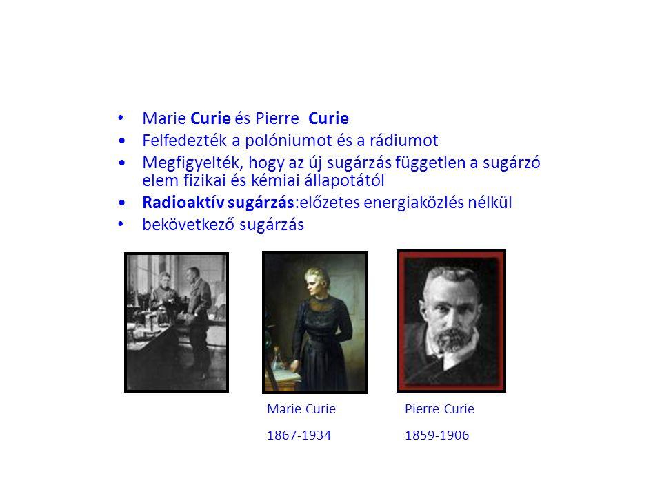 Marie Curie és Pierre Curie Felfedezték a polóniumot és a rádiumot Megfigyelték, hogy az új sugárzás független a sugárzó elem fizikai és kémiai állapo