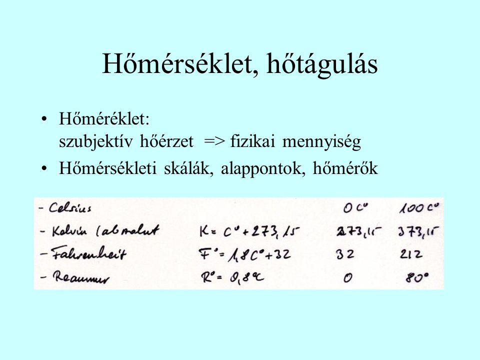 Hőmérséklet, hőtágulás Hőméréklet: szubjektív hőérzet => fizikai mennyiség Hőmérsékleti skálák, alappontok, hőmérők