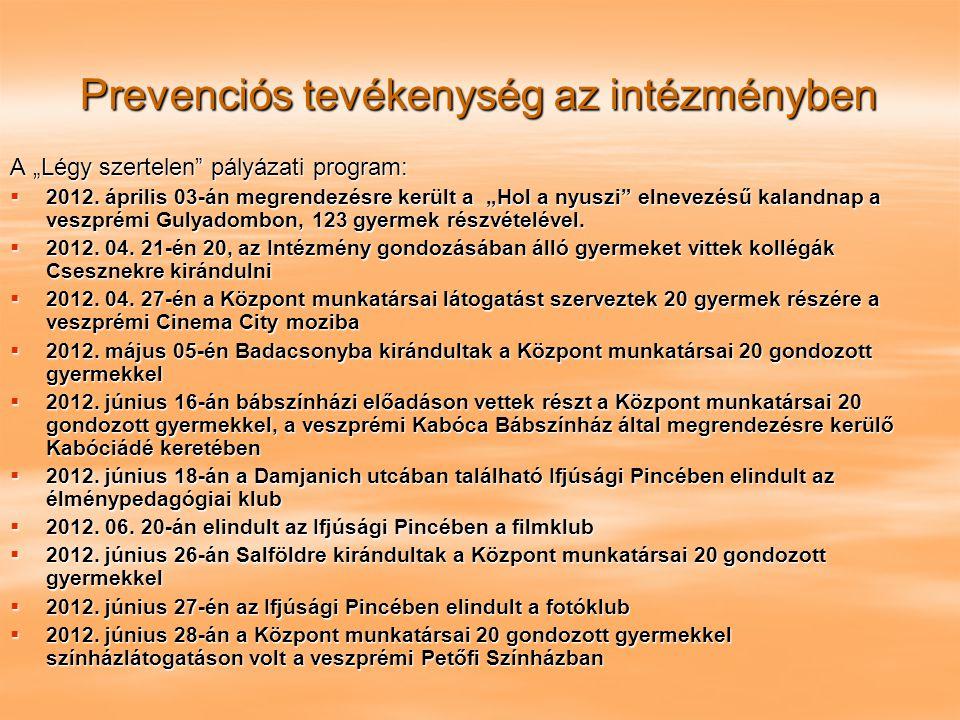 """Prevenciós tevékenység az intézményben A """"Légy szertelen"""" pályázati program:  2012. április 03-án megrendezésre került a """"Hol a nyuszi"""" elnevezésű ka"""