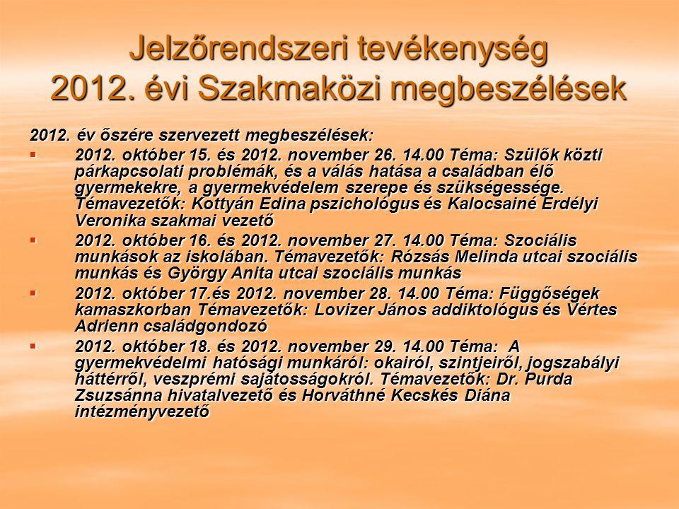 Jelzőrendszeri tevékenység 2012. évi Szakmaközi megbeszélések 2012. év őszére szervezett megbeszélések:  2012. október 15. és 2012. november 26. 14.0