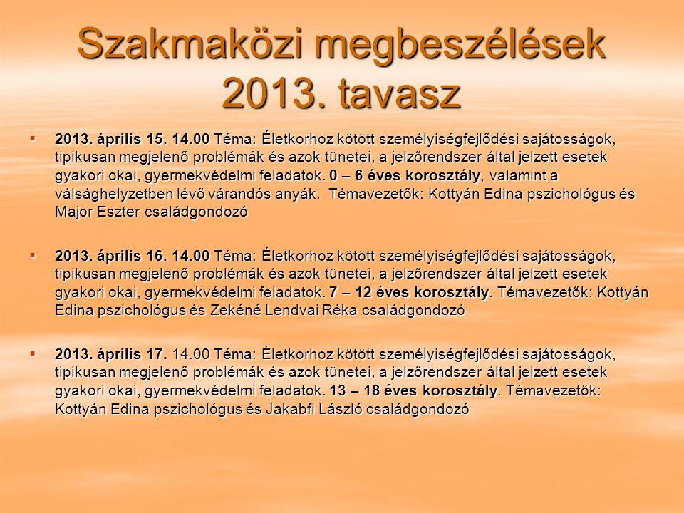 Szakmaközi megbeszélések 2013. tavasz  2013. április 15. 14.00 Téma: Életkorhoz kötött személyiségfejlődési sajátosságok, tipikusan megjelenő problém