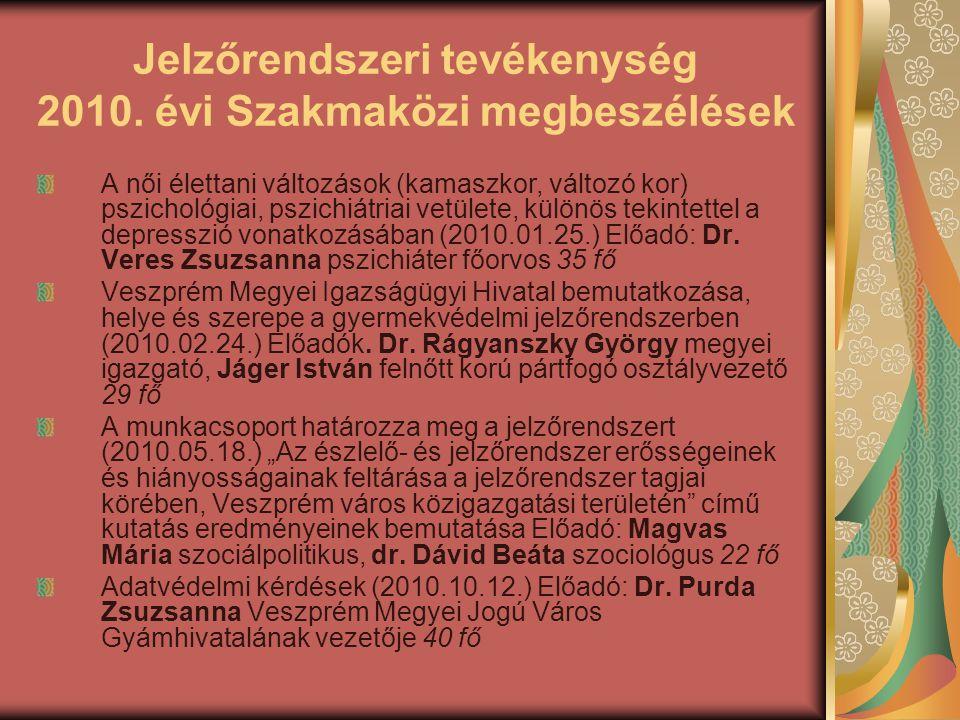 Jelzőrendszeri tevékenység 2010. évi Szakmaközi megbeszélések A női élettani változások (kamaszkor, változó kor) pszichológiai, pszichiátriai vetülete