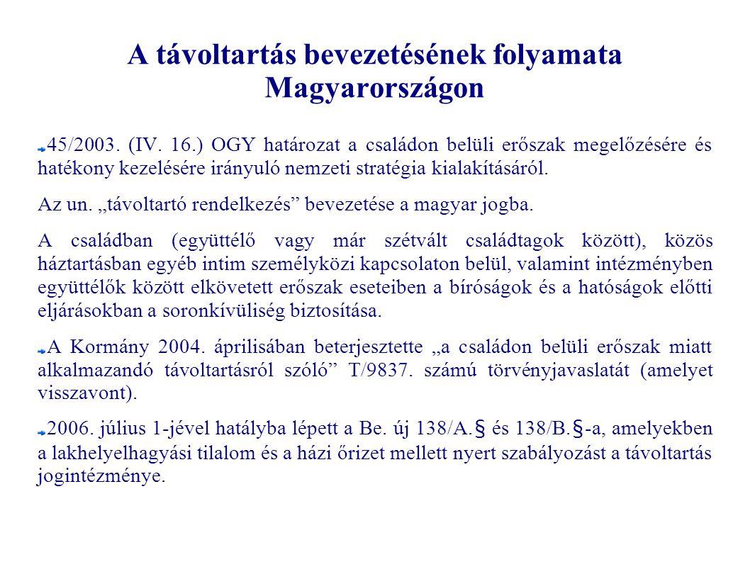A távoltartás bevezetésének folyamata Magyarországon 45/2003. (IV. 16.) OGY határozat a családon belüli erőszak megelőzésére és hatékony kezelésére ir