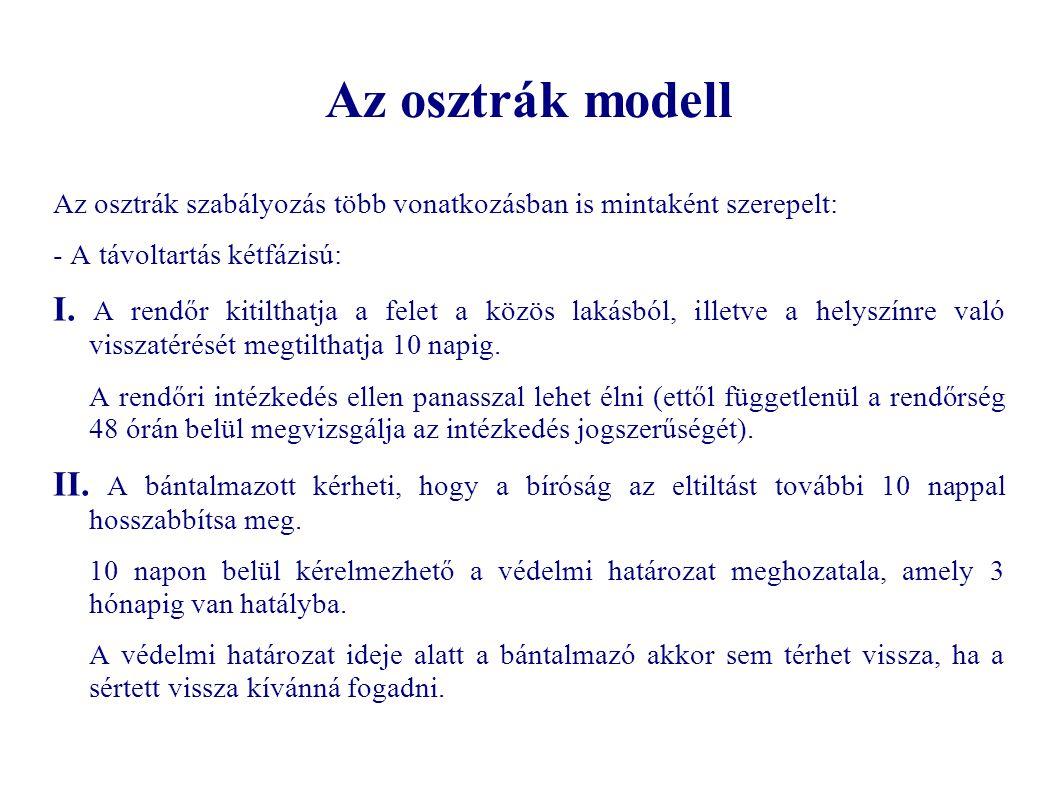 Az osztrák modell Az osztrák szabályozás több vonatkozásban is mintaként szerepelt: - A távoltartás kétfázisú: I. A rendőr kitilthatja a felet a közös