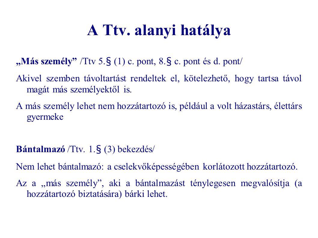 """A Ttv. alanyi hatálya """"Más személy"""" /Ttv 5.§ (1) c. pont, 8.§ c. pont és d. pont/ Akivel szemben távoltartást rendeltek el, kötelezhető, hogy tartsa t"""