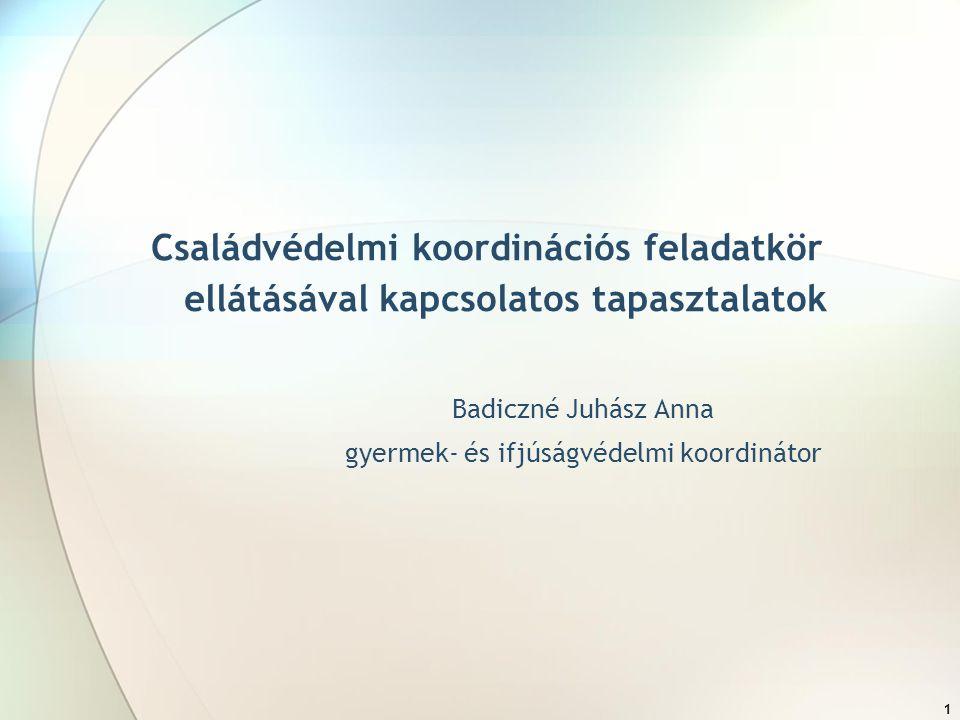 1 Családvédelmi koordinációs feladatkör ellátásával kapcsolatos tapasztalatok Badiczné Juhász Anna gyermek- és ifjúságvédelmi koordinátor