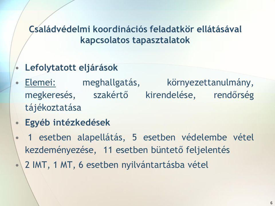 6 Családvédelmi koordinációs feladatkör ellátásával kapcsolatos tapasztalatok Lefolytatott eljárások Elemei: meghallgatás, környezettanulmány, megkeresés, szakértő kirendelése, rendőrség tájékoztatása Egyéb intézkedések 1 esetben alapellátás, 5 esetben védelembe vétel kezdeményezése, 11 esetben büntető feljelentés 2 IMT, 1 MT, 6 esetben nyilvántartásba vétel