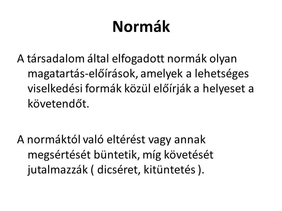 Normák A társadalom által elfogadott normák olyan magatartás-előírások, amelyek a lehetséges viselkedési formák közül előírják a helyeset a követendőt