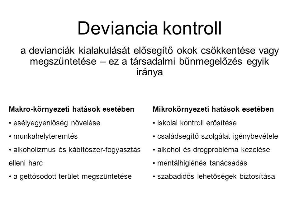 Deviancia kontroll a devianciák kialakulását elősegítő okok csökkentése vagy megszüntetése – ez a társadalmi bűnmegelőzés egyik iránya Makro-környezet