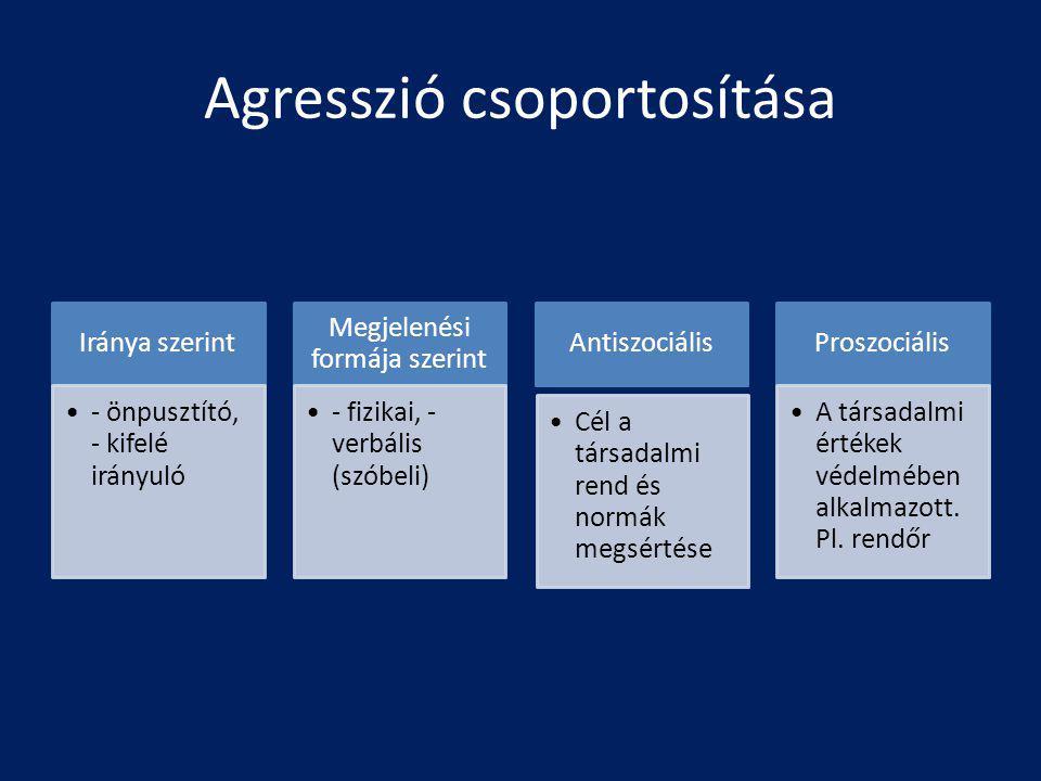 Agresszió csoportosítása Iránya szerint - önpusztító, - kifelé irányuló Megjelenési formája szerint - fizikai, - verbális (szóbeli) Antiszociális Cél