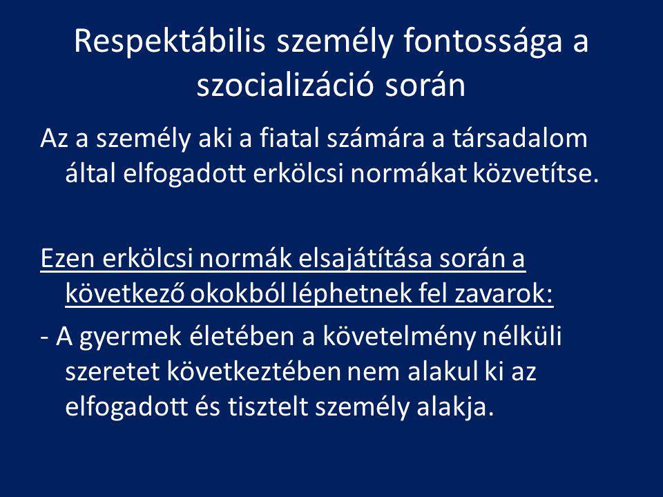 Respektábilis személy fontossága a szocializáció során Az a személy aki a fiatal számára a társadalom által elfogadott erkölcsi normákat közvetítse. E