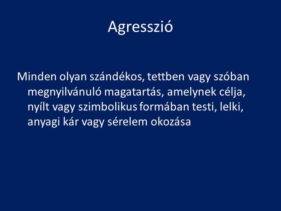 Agresszió Minden olyan szándékos, tettben vagy szóban megnyilvánuló magatartás, amelynek célja, nyílt vagy szimbolikus formában testi, lelki, anyagi kár vagy sérelem okozása