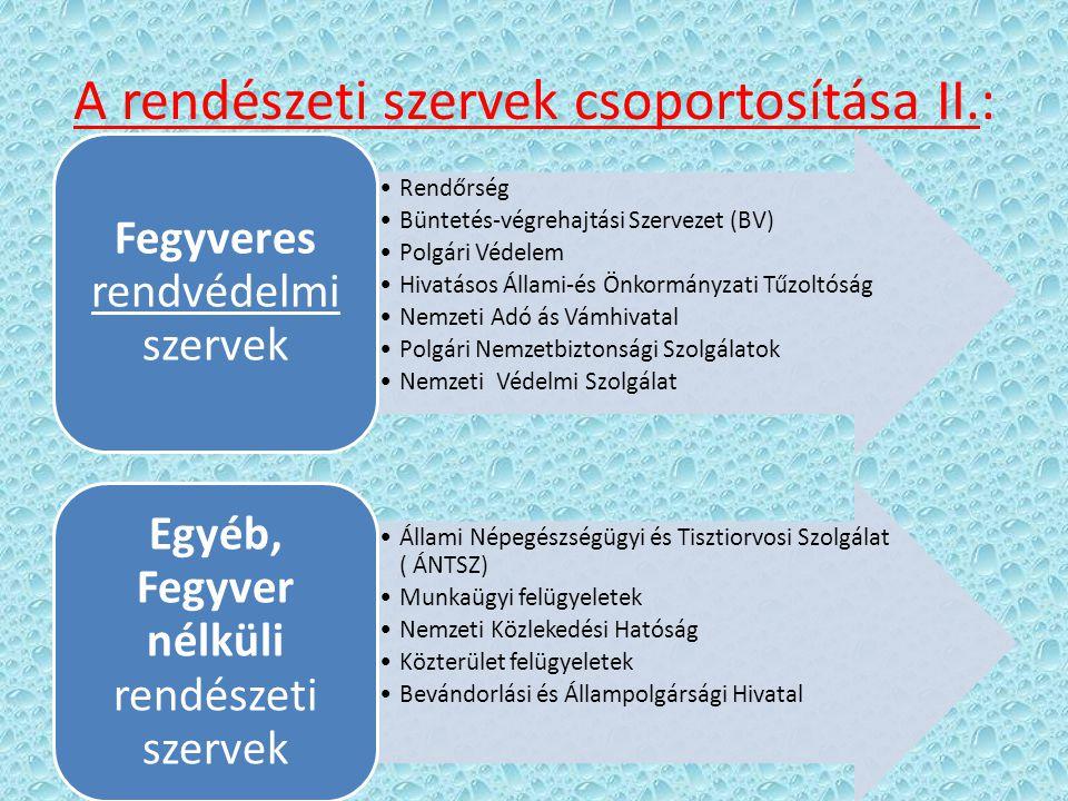 A rendészeti szervek csoportosítása II.: Rendőrség Büntetés-végrehajtási Szervezet (BV) Polgári Védelem Hivatásos Állami-és Önkormányzati Tűzoltóság N