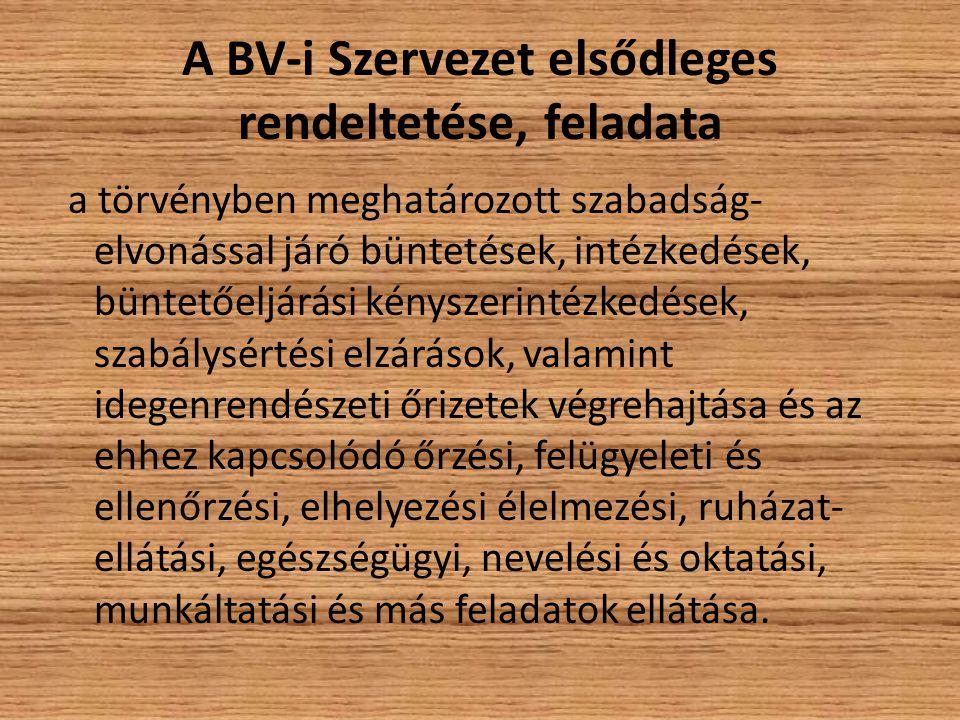 A BV-i Szervezet elsődleges rendeltetése, feladata a törvényben meghatározott szabadság- elvonással járó büntetések, intézkedések, büntetőeljárási kén