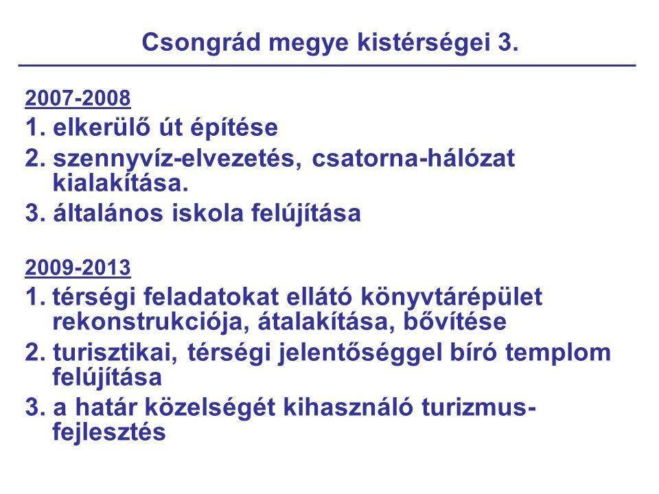 Csongrád megye kistérségei 3. 2007-2008 1. elkerülő út építése 2. szennyvíz-elvezetés, csatorna-hálózat kialakítása. 3. általános iskola felújítása 20