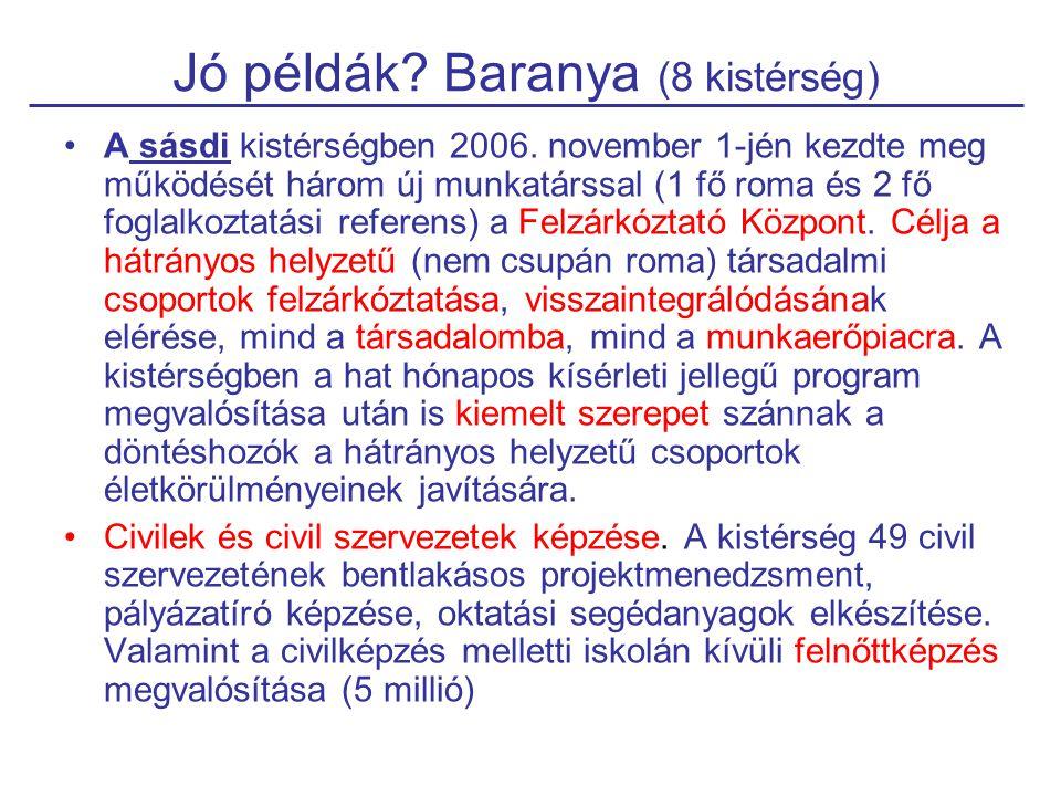 Jó példák? Baranya (8 kistérség) A sásdi kistérségben 2006. november 1-jén kezdte meg működését három új munkatárssal (1 fő roma és 2 fő foglalkoztatá