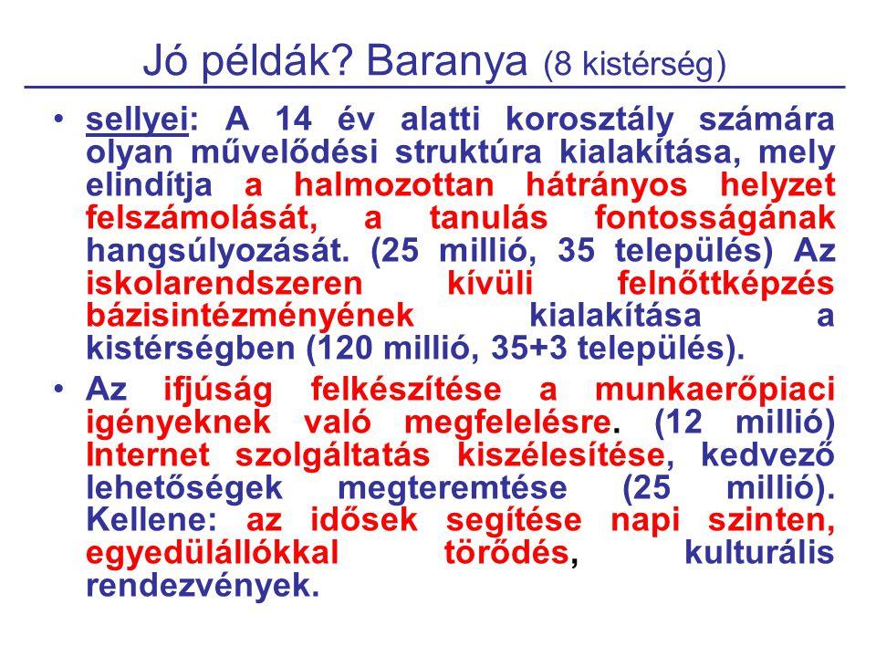Jó példák? Baranya (8 kistérség) sellyei: A 14 év alatti korosztály számára olyan művelődési struktúra kialakítása, mely elindítja a halmozottan hátrá