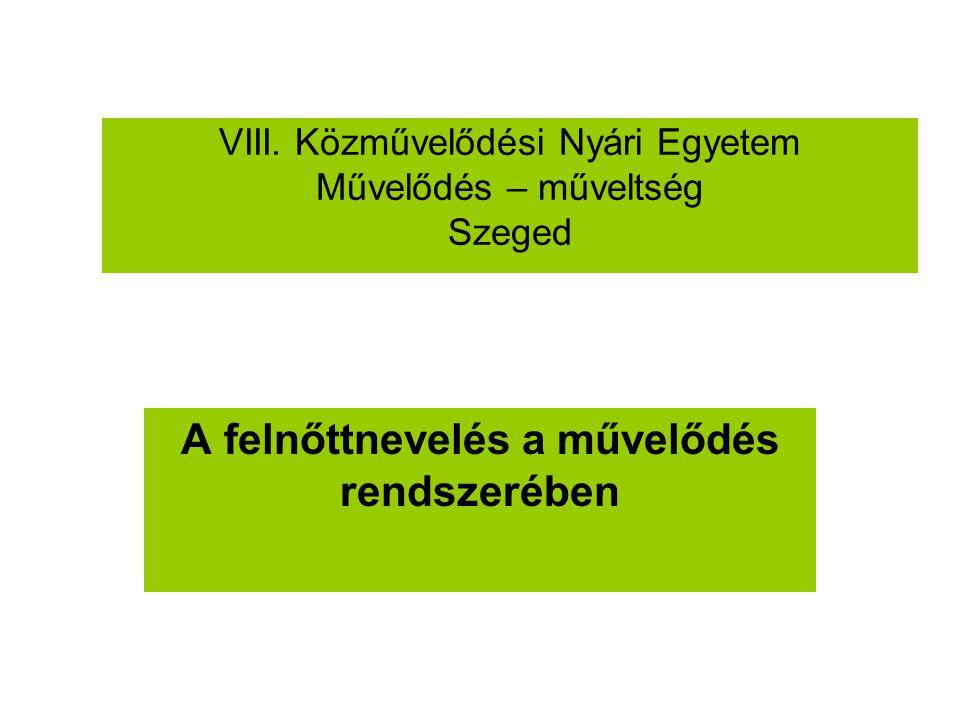 VIII. Közművelődési Nyári Egyetem Művelődés – műveltség Szeged A felnőttnevelés a művelődés rendszerében