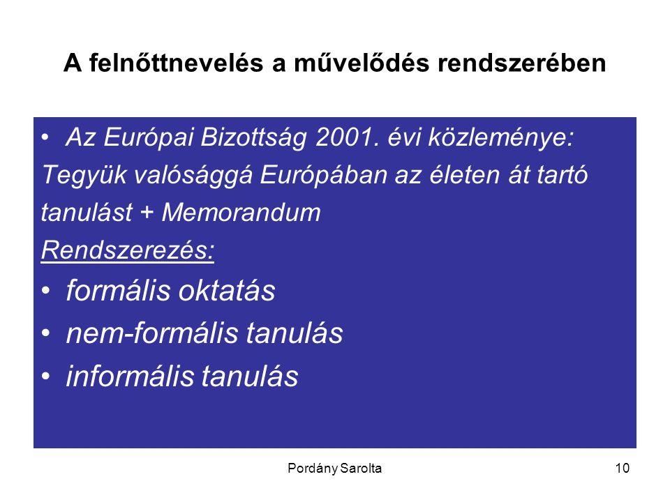Pordány Sarolta10 A felnőttnevelés a művelődés rendszerében Az Európai Bizottság 2001. évi közleménye: Tegyük valósággá Európában az életen át tartó t
