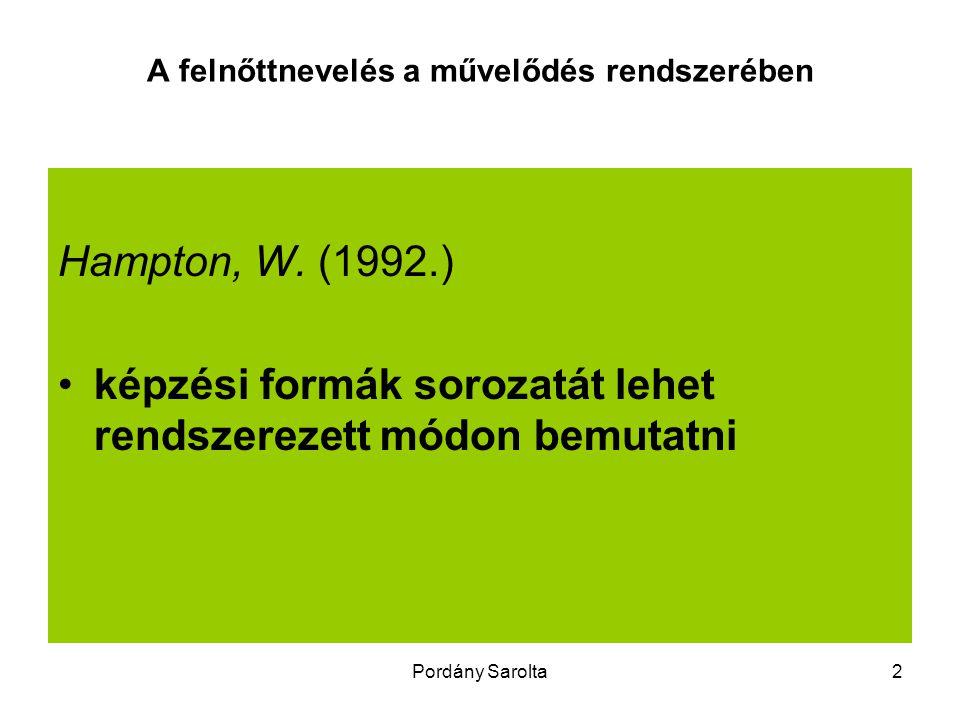 Pordány Sarolta2 A felnőttnevelés a művelődés rendszerében Hampton, W. (1992.) képzési formák sorozatát lehet rendszerezett módon bemutatni