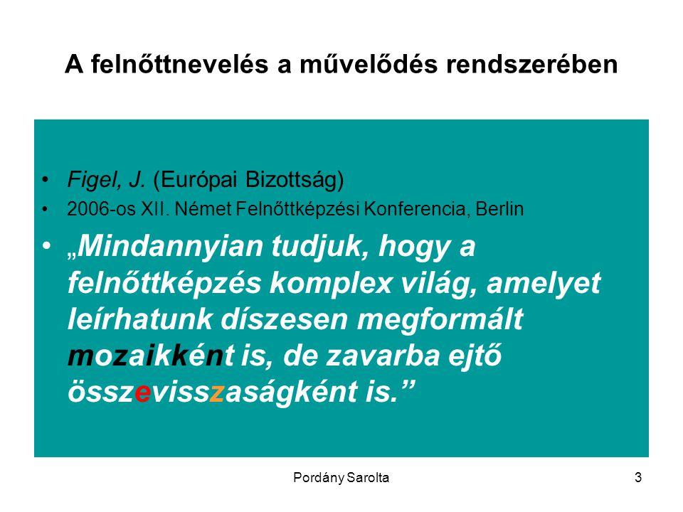 """Pordány Sarolta3 A felnőttnevelés a művelődés rendszerében Figel, J. (Európai Bizottság) 2006-os XII. Német Felnőttképzési Konferencia, Berlin """"Mindan"""