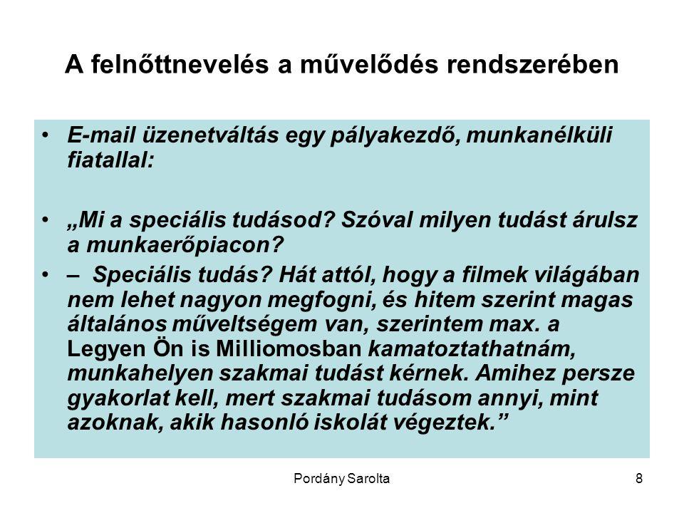 """Pordány Sarolta8 A felnőttnevelés a művelődés rendszerében E-mail üzenetváltás egy pályakezdő, munkanélküli fiatallal: """"Mi a speciális tudásod."""