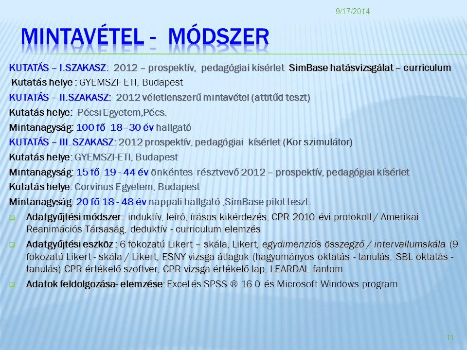 KUTATÁS – I.SZAKASZ: 2012 – prospektív, pedagógiai kísérlet SimBase hatásvizsgálat – curriculum Kutatás helye : GYEMSZI- ETI, Budapest KUTATÁS – II.SZAKASZ: 2012 véletlenszerű mintavétel (attitűd teszt) Kutatás helye: Pécsi Egyetem,Pécs.