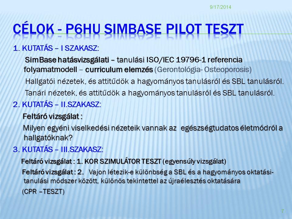 1. KUTATÁS – I SZAKASZ: SimBase hatásvizsgálati – tanulási curriculum elemzés SimBase hatásvizsgálati – tanulási ISO/IEC 19796-1 referencia folyamatmo