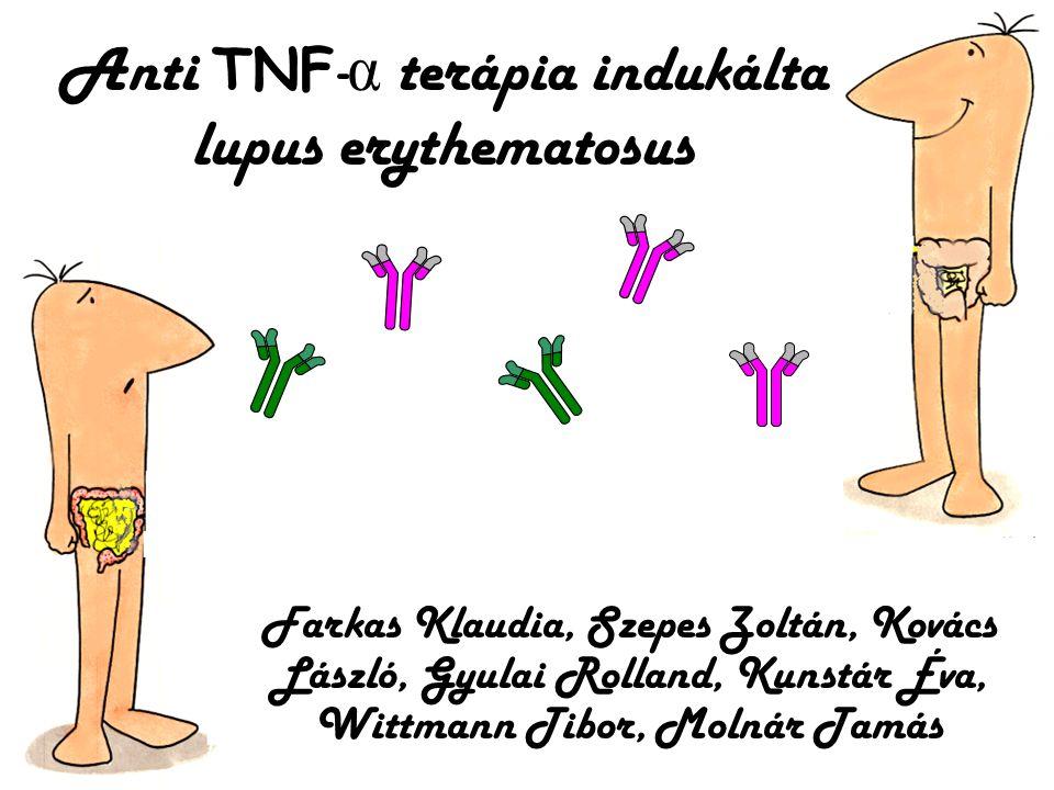 Az anti TNF - α kezelés terápiás javallatai Crohn betegség (felnőtt, gyermek) Colitis ulcerosa Rheumatoid arthritis Spondylitis ankylopoetika Arthritis psoriatica Psoriasis