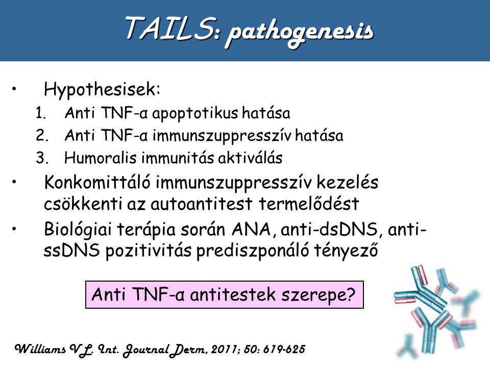 TAILS : pathogenesis Hypothesisek: 1.Anti TNF-α apoptotikus hatása 2.Anti TNF-α immunszuppresszív hatása 3.Humoralis immunitás aktiválás Konkomittáló