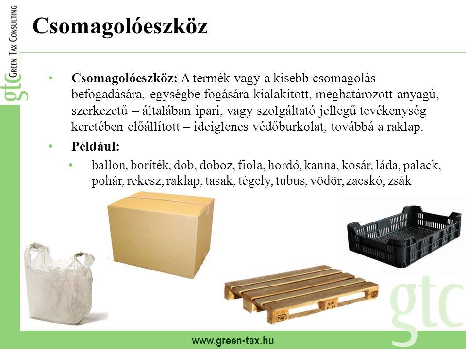 www.green-tax.hu Csomagolóeszköz Csomagolóeszköz: A termék vagy a kisebb csomagolás befogadására, egységbe fogására kialakított, meghatározott anyagú,