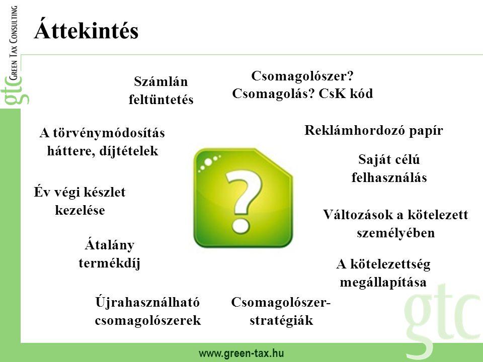 www.green-tax.hu Jogszabályi háttér, változások A módosítás céljai: Termékdíj-bevételek növelése Állami kezelői feladatokat ellátó szervezet létrehozása (koordináló szervezeti rendszer megszüntetése, OHÜ létrehozása) Kötelezetti kör szűkítése Jogszabályi háttér: 2011.