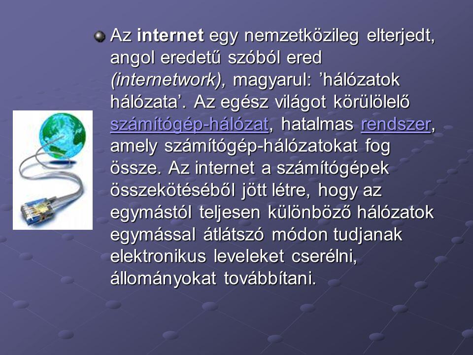 Az internet egy nemzetközileg elterjedt, angol eredetű szóból ered (internetwork), magyarul: 'hálózatok hálózata'. Az egész világot körülölelő számító
