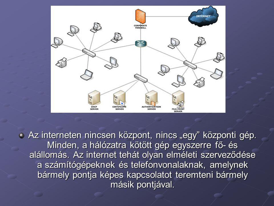 """Az interneten nincsen központ, nincs """"egy"""" központi gép. Minden, a hálózatra kötött gép egyszerre fő- és alállomás. Az internet tehát olyan elméleti s"""